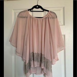 Sheer pink blouse with gray lace